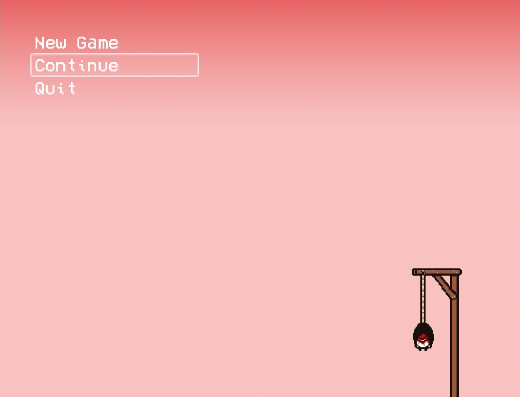 The title screen is similar to The Painful's title screen. It has buddy hanging from a noose with an eerie pink background.